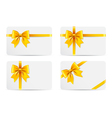 Set of gift cards with golden bow vector image