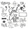 Coffee set of graphic elements and inscriptions vector image