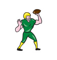 American Football QB Throwing Retro vector image vector image