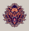 angry bear mascot with ornaments vector image