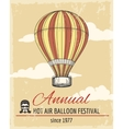 annual festival ballooning retro poster vector image vector image