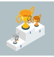 Award trophy cups on winners podium vector image vector image