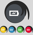 Battery charging icon sign Symbol on five colored vector image vector image