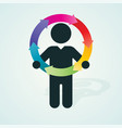 black silhouette of a man holds color wheel of vector image vector image