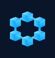 bright blue block chain icon blockchain vector image vector image
