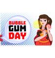 Bubble gum day concept banner cartoon style