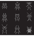 bugs and beetles outline icons set eps10 vector image vector image