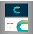business card letter c vector image vector image