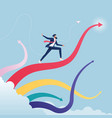 businessman surfing on upward arrow waves vector image vector image