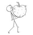 cartoon of man carrying big ripe apple fruit vector image