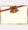 chirstmas card template with bells and red ribbon vector image vector image