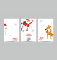 christmas cards set in minimalist style vector image vector image