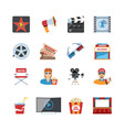 Cinema Flat Design Icons vector image