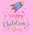 colorful childrens day doodle style vector image vector image