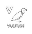 cute cartoon animals alphabet vulture vector image vector image