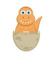 cute dinosaur on an eggshell vector image