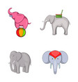elephant icon set cartoon style vector image vector image