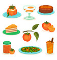 flat set of persimmon desserts and drinks vector image vector image