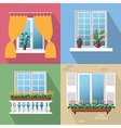 flowers on window vector image vector image