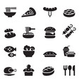 food and drink icons set vector image vector image