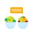 fresh vegetables greens fruits berries bowl vector image