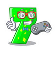gamer cartoon number seven on stone wall vector image