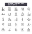 general construction contractors line icons signs vector image