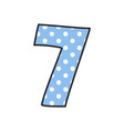 hand drawn number 7 with polka dots on pastel blue vector image vector image