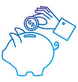 hand saver with piggy savings and coins vector image vector image