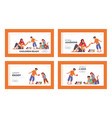 happy family spare time landing page template set vector image vector image
