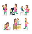 happy mother and son cartoons motherhood vector image vector image