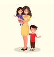 happy mother with daughter and son vector image