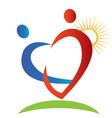 Hearts figures sun logo vector image vector image