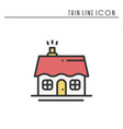 house and home thin line icon outline decorated vector image vector image