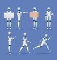 humanoid robot mascot cartoon future android vector image