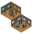 isometric low poly museum or art gallery vector image vector image
