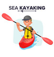 kayaking man rafting vest jacket paddle vector image