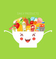 kids daily menu products in cute bowl meal for vector image