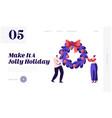 merry christmas winter holidays website landing vector image vector image