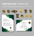 modern green certificate with badge multipurpose vector image vector image