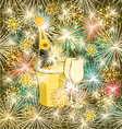 New Year colorful fireworks and champagne vector image vector image