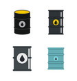 oil barrel icon set flat style vector image vector image