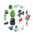 paintball game isometric 3d icons vector image vector image