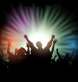 party crowd on starburst background vector image vector image