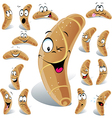 pastry roll cartoon with many expressions vector image vector image