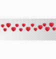 red paper hearts garland border paper cut vector image vector image