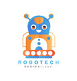 robotech logo design badge with robot for company vector image vector image