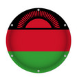 round metallic flag of malawi with screws vector image vector image