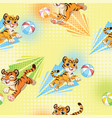 seamless pattern with cute tigers and balls vector image