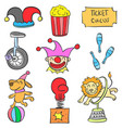 set of circus object doodles vector image